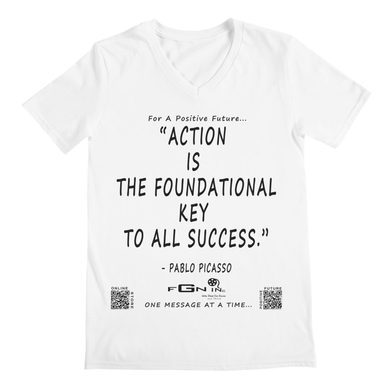 690 - Pablo Picasso Quote Men's V-Neck by FGN Inc. Online Shop