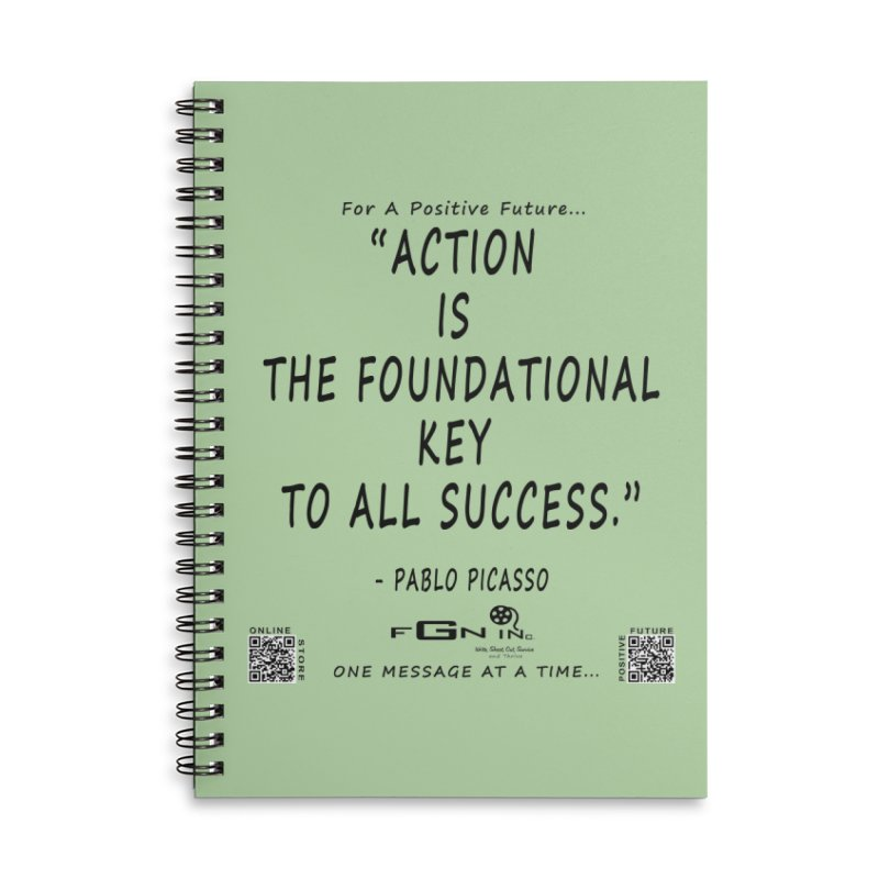 690 - Pablo Picasso Quote Accessories Lined Spiral Notebook by FGN Inc. Online Shop