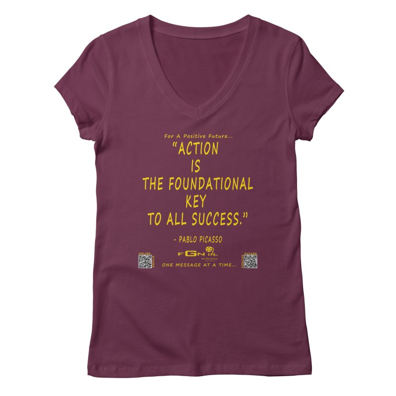 690B - Pablo Picasso Quote Women's Regular V-Neck by FGN Inc. Online Shop