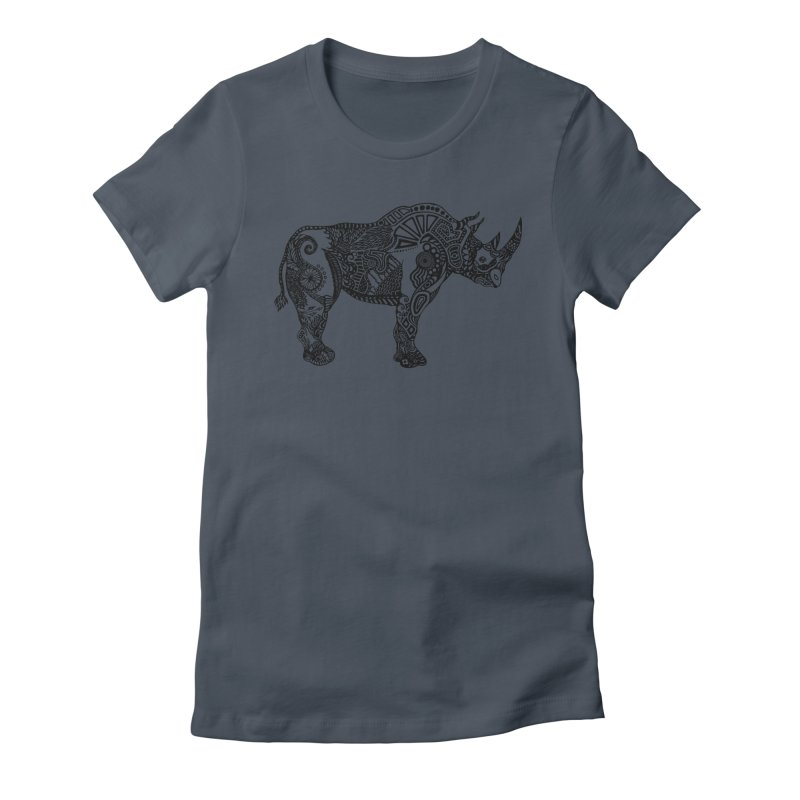 Rhino by Floris V Women's Fitted T-Shirt by FLORISV's Artist Shop