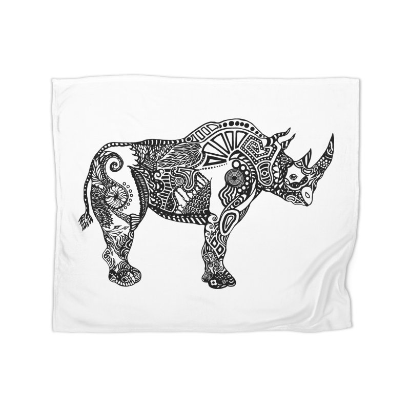 Rhino by Floris V Home Fleece Blanket Blanket by FLORISV's Artist Shop