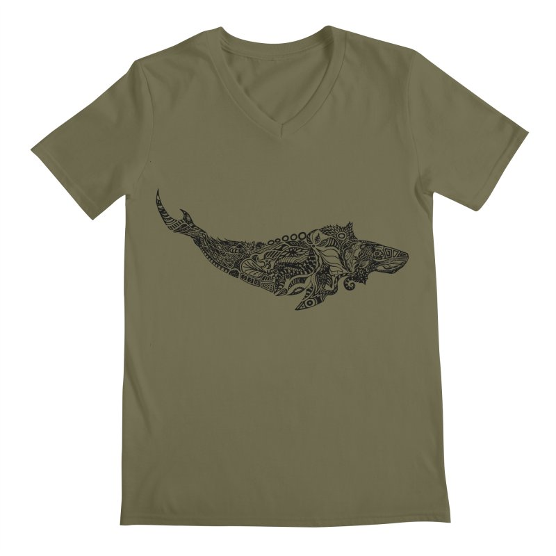 Whale drawing by Floris V Men's Regular V-Neck by FLORISV's Artist Shop