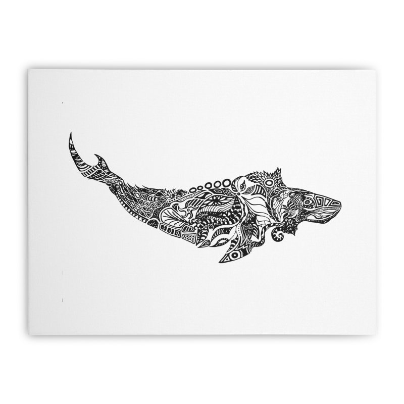 Whale drawing by Floris V Home Stretched Canvas by FLORISV's Artist Shop