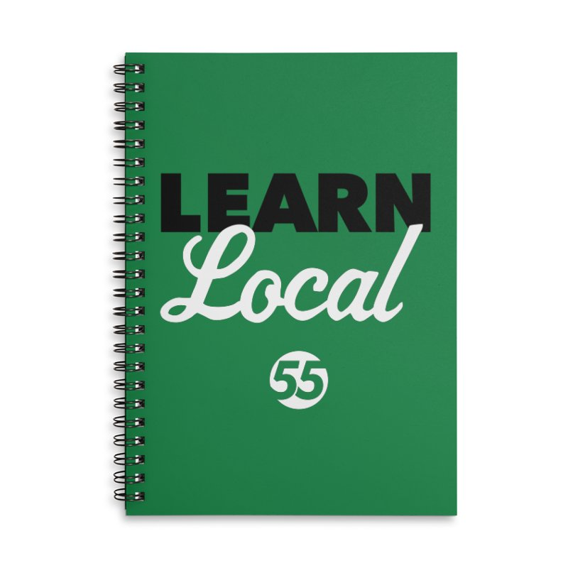 Learn Local 55 - Green bag Accessories Lined Spiral Notebook by FOH55