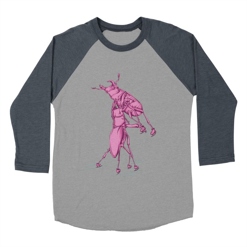 Stag Beetle Ice Skating Men's Baseball Triblend T-Shirt by FOURHWAY's Shop