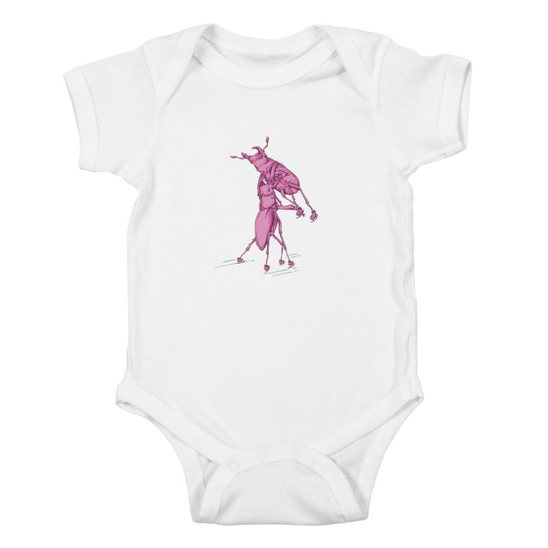 Stag Beetle Ice Skating Kids Baby Bodysuit by FOURHWAY's Shop