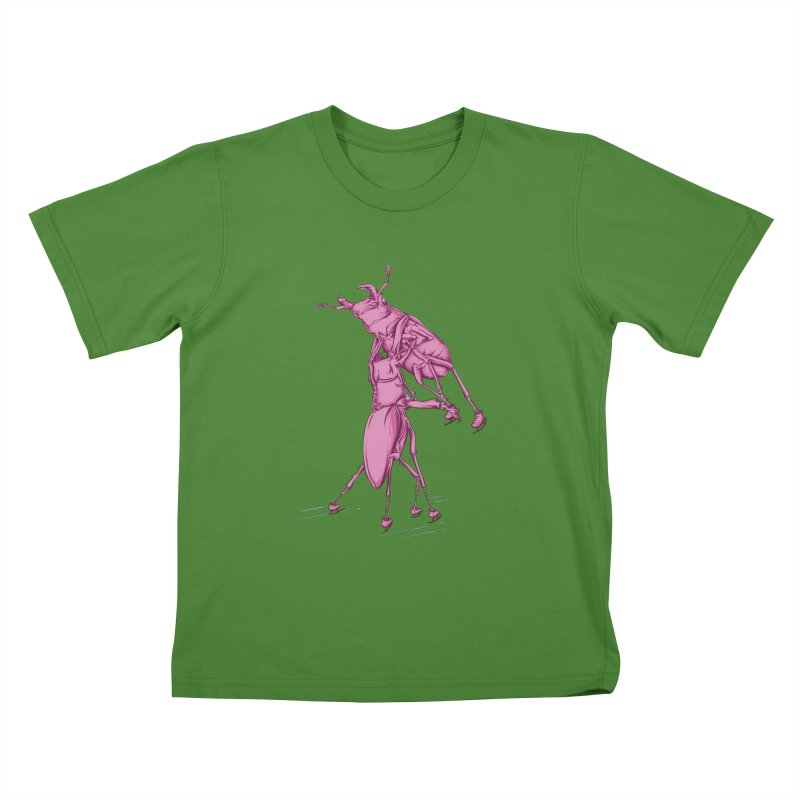 Stag Beetle Ice Skating Kids T-Shirt by FOURHWAY's Shop