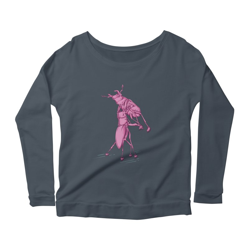 Stag Beetle Ice Skating Women's Longsleeve Scoopneck  by FOURHWAY's Shop