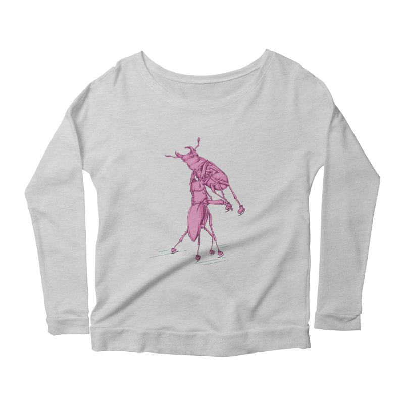 Stag Beetle Ice Skating Women's Scoop Neck Longsleeve T-Shirt by FOURHWAY's Shop