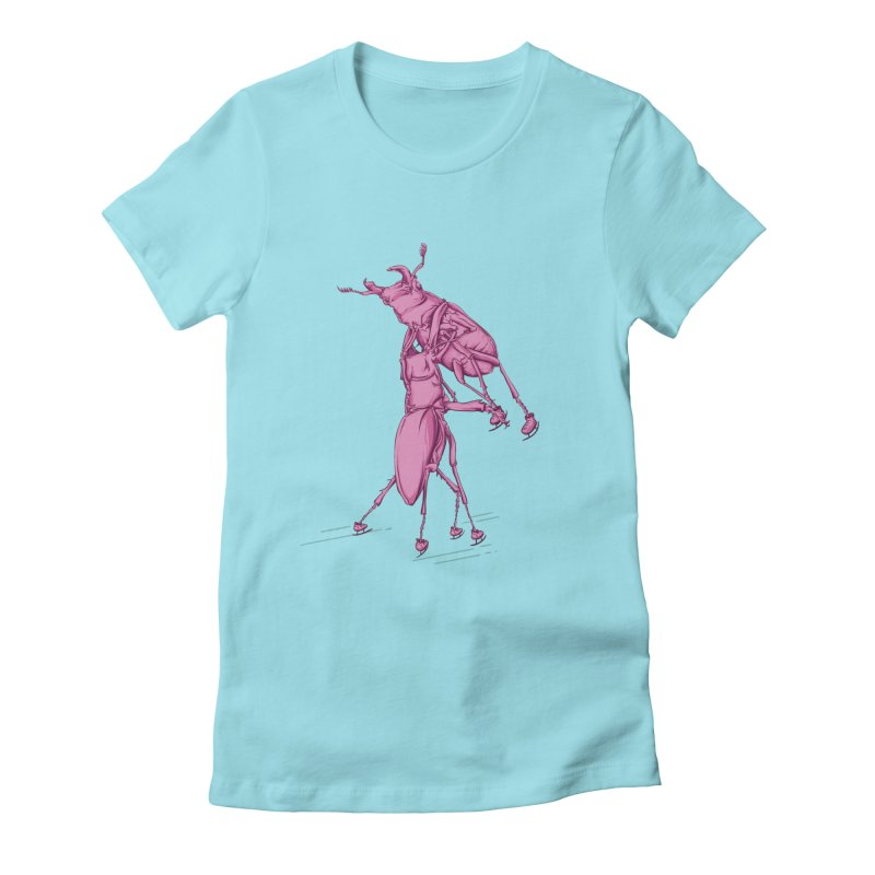 Stag Beetle Ice Skating Women's Fitted T-Shirt by FOURHWAY's Shop