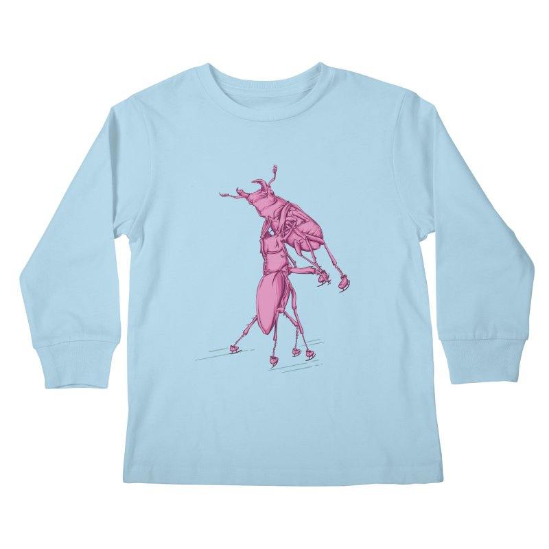 Stag Beetle Ice Skating Kids Longsleeve T-Shirt by FOURHWAY's Shop