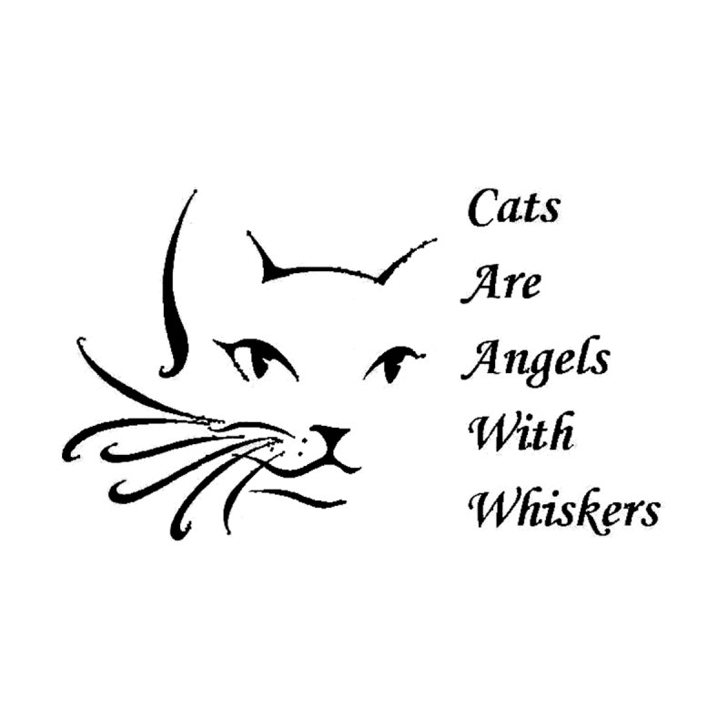 Cats are angels with wings black Accessories Sticker by FPAS's Artist Shop