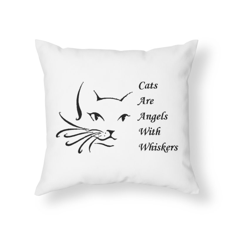 Cats are angels with wings black Home Throw Pillow by FPAS's Artist Shop