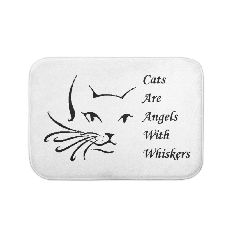 Cats are angels with wings black Home Bath Mat by FPAS's Artist Shop