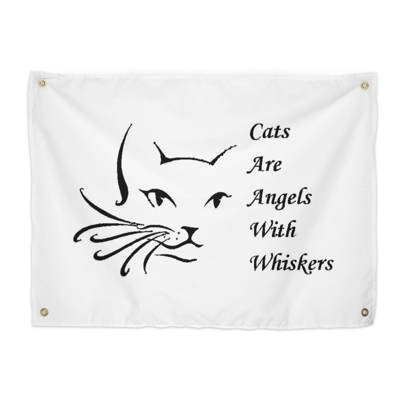 Cats are angels with wings black Home Tapestry by FPAS's Artist Shop