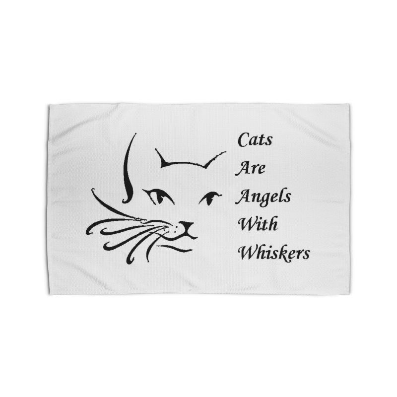 Cats are angels with wings black Home Rug by FPAS's Artist Shop