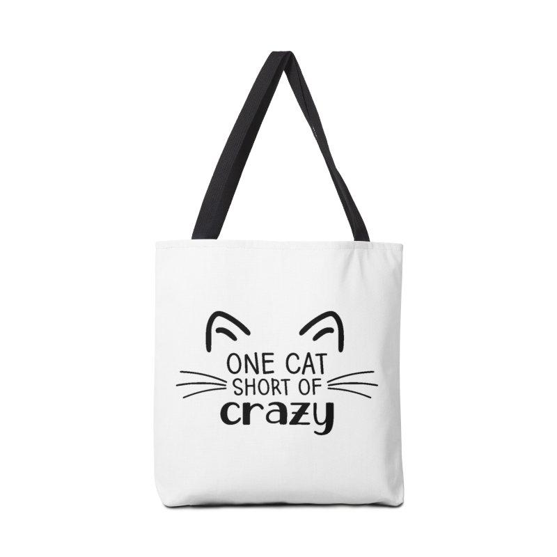 One Cat Short of Crazy black Accessories Bag by FPAS's Artist Shop