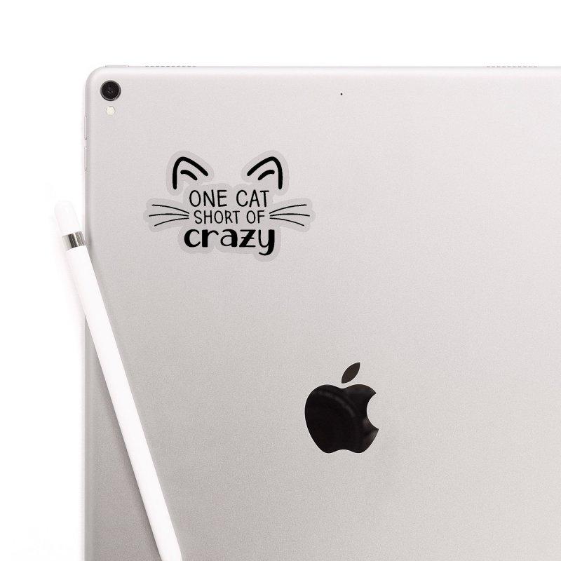 One Cat Short of Crazy black Accessories Sticker by FPAS's Artist Shop