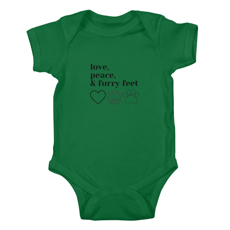 Peace Love and Furry Feet Kids Baby Bodysuit by FPAS's Artist Shop