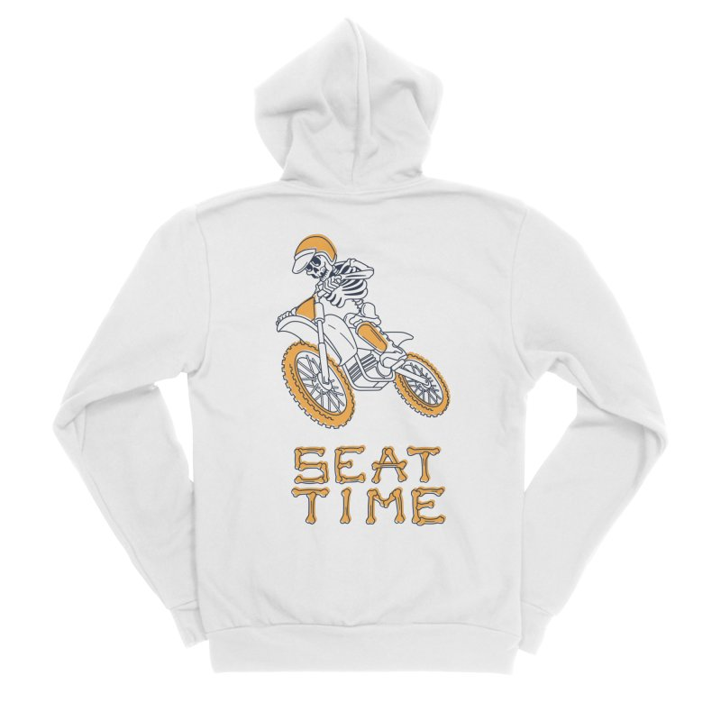 Seat Time Skeleton Men's Sponge Fleece Zip-Up Hoody by Full Pint Media Group's Shop