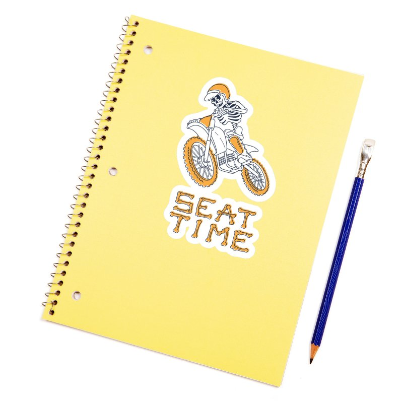 Seat Time Skeleton Accessories Sticker by Full Pint Media Group's Shop