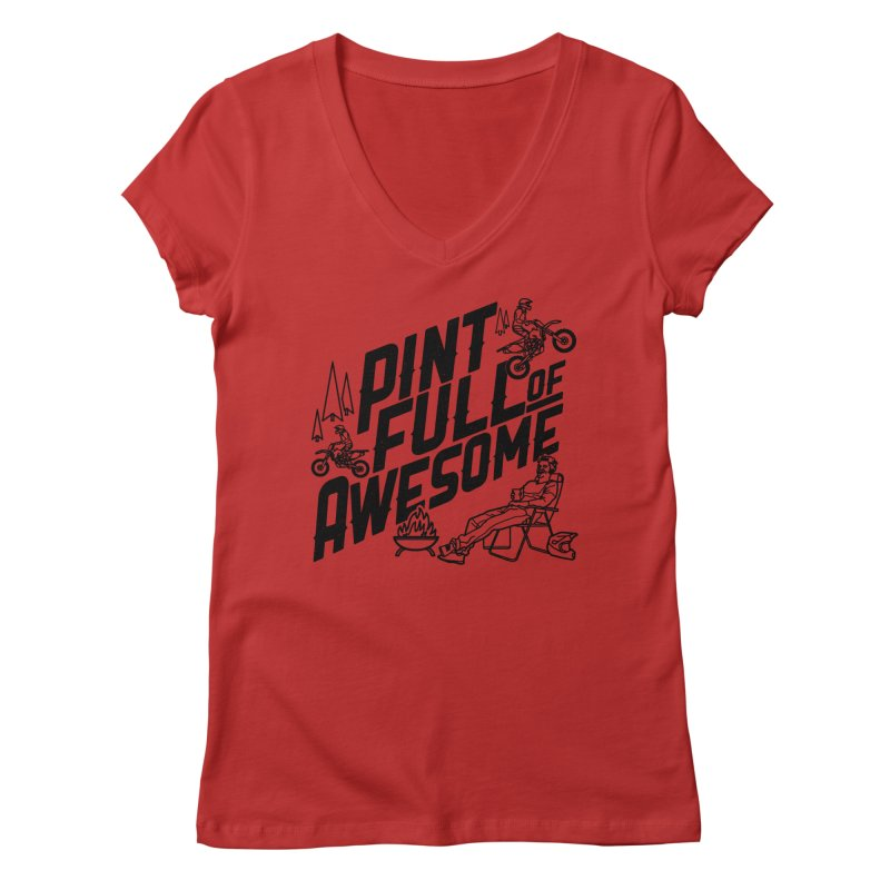 Pint Full Of Awesome - Campfire Women's V-Neck by Full Pint Media Group's Shop