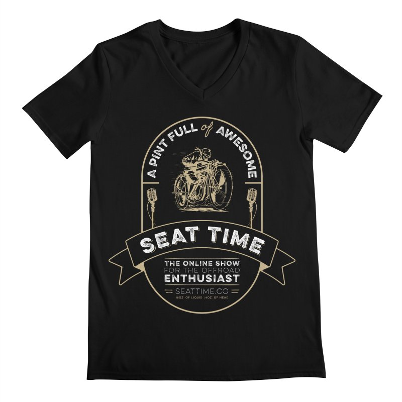 Seat Time Beer Label Shirt Men's Regular V-Neck by Full Pint Media Group's Shop