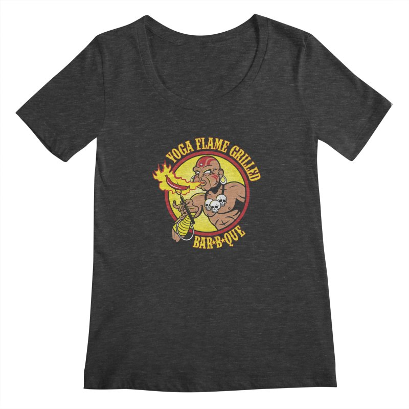Yoga Flame Grilled BBQ Women's Scoopneck by Fanboy30's Artist Shop