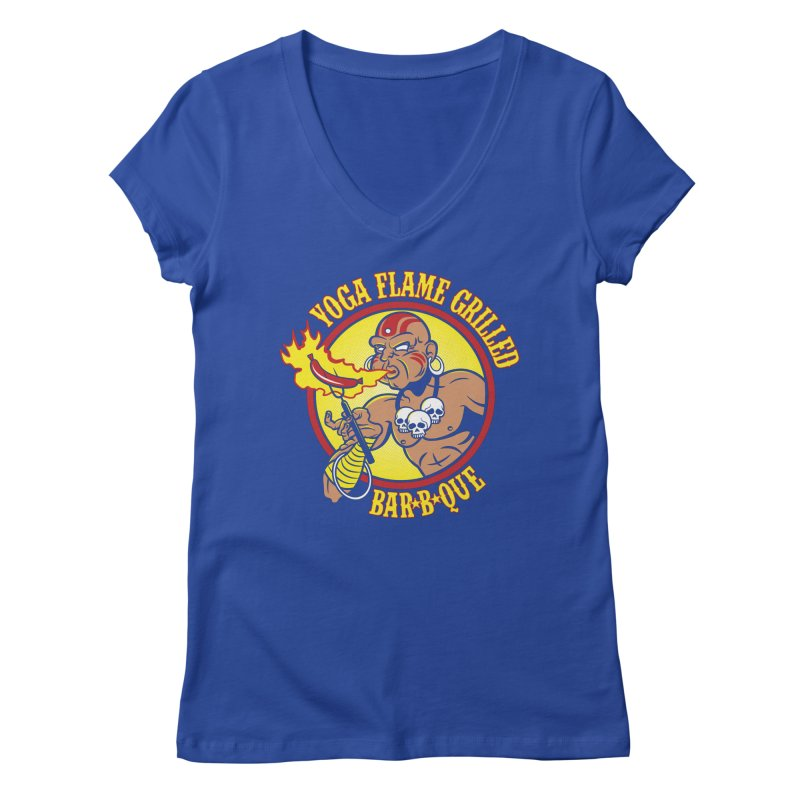 Yoga Flame Grilled BBQ Women's V-Neck by Fanboy30's Artist Shop