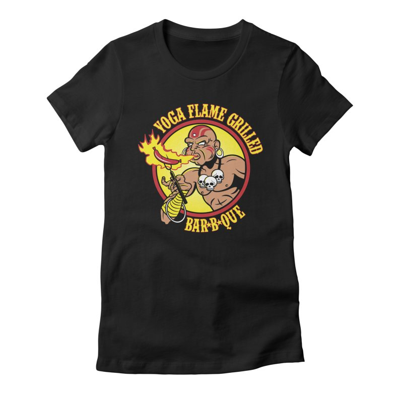 Yoga Flame Grilled BBQ Women's Fitted T-Shirt by Fanboy30's Artist Shop