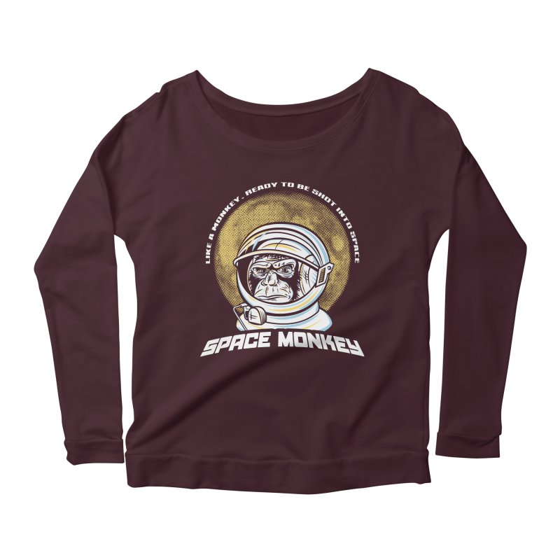 Space Monkey Women's Longsleeve Scoopneck  by Fanboy30's Artist Shop