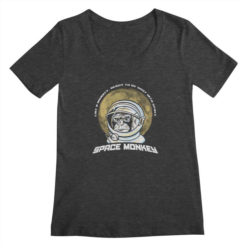 Space Monkey Women's Scoopneck by Fanboy30's Artist Shop