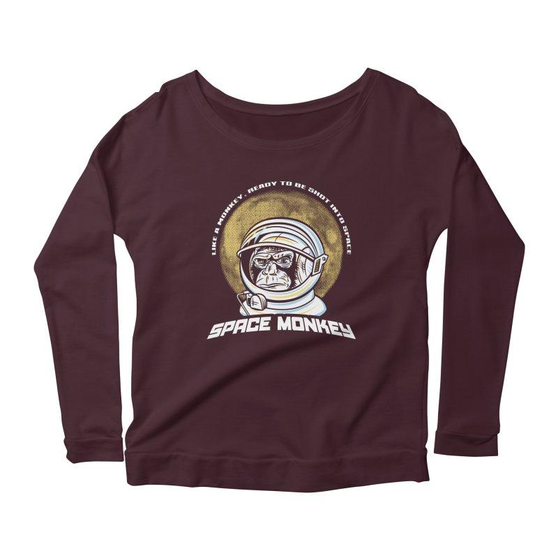Space Monkey Women's Longsleeve Scoopneck  by Fanboy30's Artist Shop