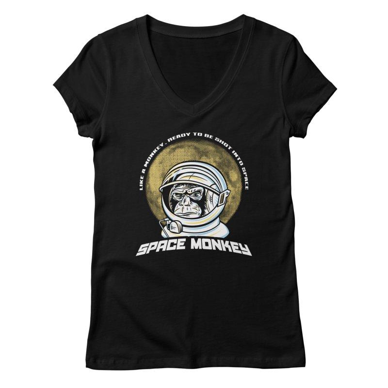 Space Monkey Women's V-Neck by Fanboy30's Artist Shop