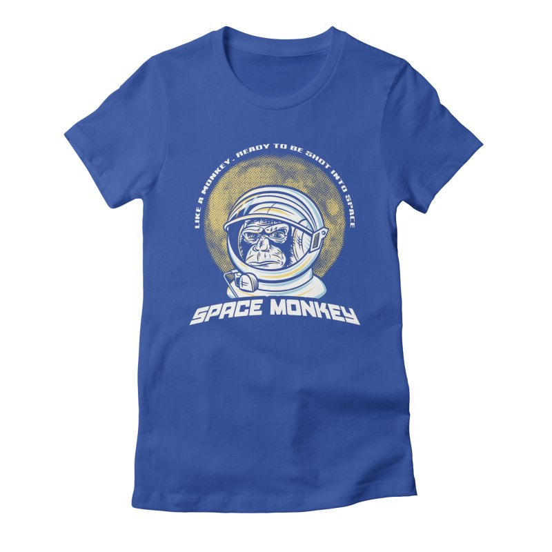Space Monkey Women's Fitted T-Shirt by Fanboy30's Artist Shop