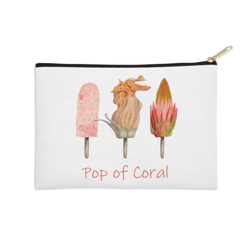 Pop of Coral Accessories Zip Pouch by FashionedbyNature's Artist Shop