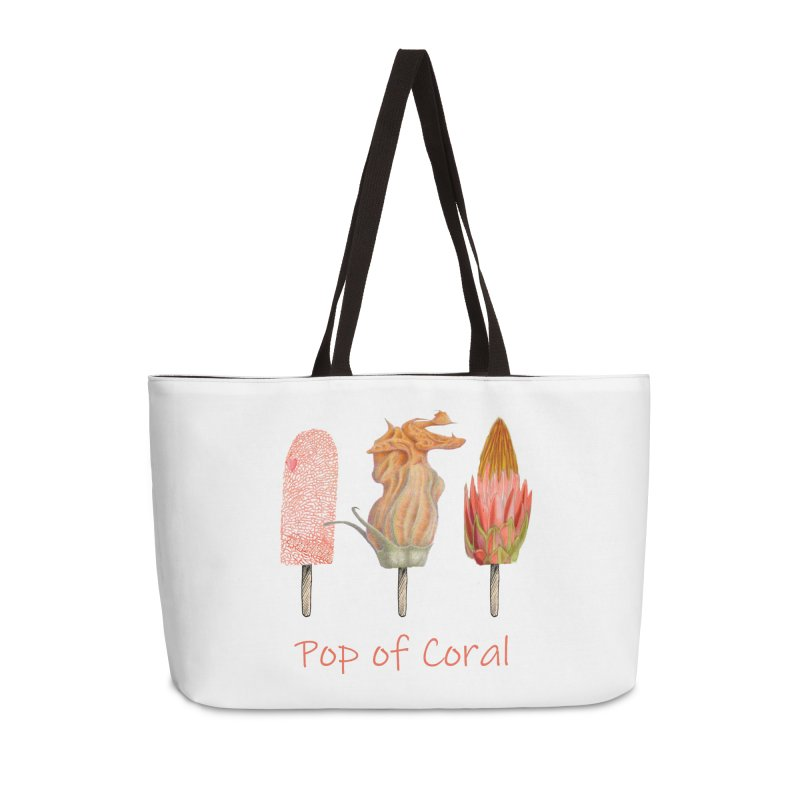 Pop of Coral Accessories Weekender Bag Bag by FashionedbyNature's Artist Shop