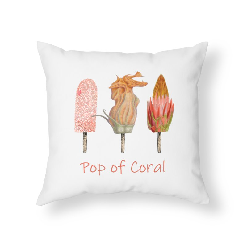 Pop of Coral Home Throw Pillow by All Fashioned by Nature Artist Shop