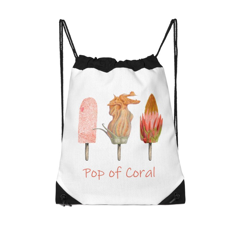 Pop of Coral Accessories Drawstring Bag Bag by FashionedbyNature's Artist Shop