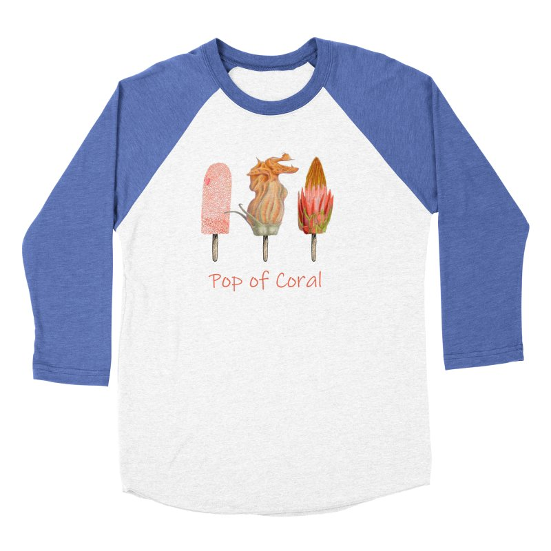 Pop of Coral Men's Baseball Triblend Longsleeve T-Shirt by FashionedbyNature's Artist Shop