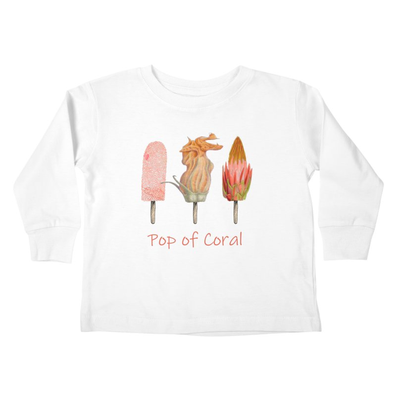 Pop of Coral Kids Toddler Longsleeve T-Shirt by FashionedbyNature's Artist Shop