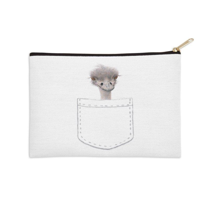 Ostrich in my Pocket Accessories Zip Pouch by FashionedbyNature's Artist Shop
