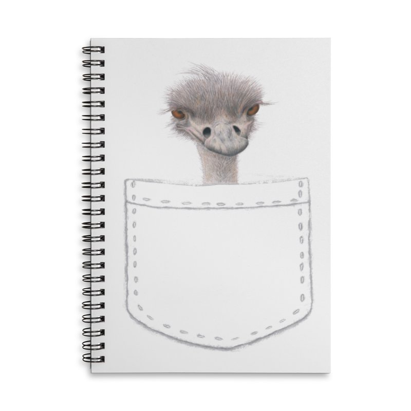 Ostrich in my Pocket Accessories Lined Spiral Notebook by FashionedbyNature's Artist Shop