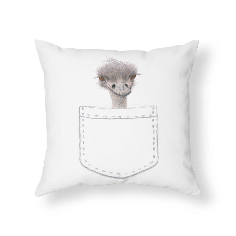 Ostrich in my Pocket Home Throw Pillow by FashionedbyNature's Artist Shop
