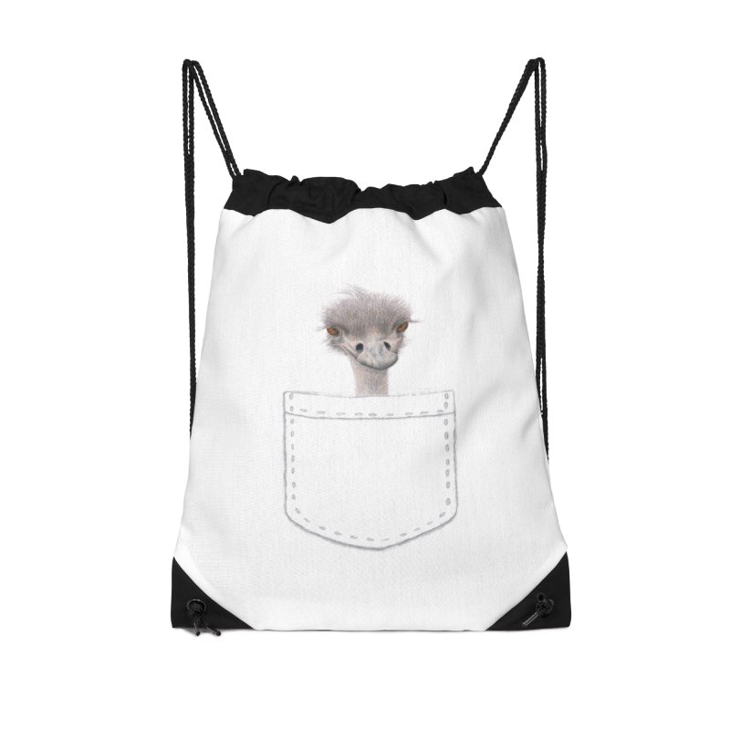 Ostrich in my Pocket Accessories Drawstring Bag Bag by FashionedbyNature's Artist Shop
