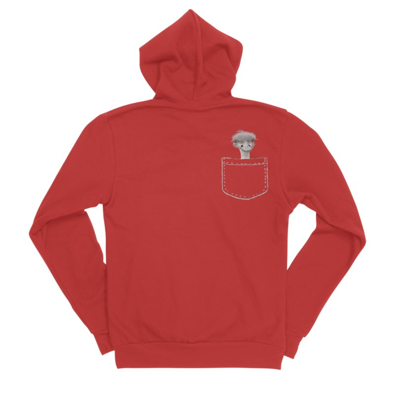 Ostrich in my Pocket Men's Zip-Up Hoody by All Fashioned by Nature Artist Shop