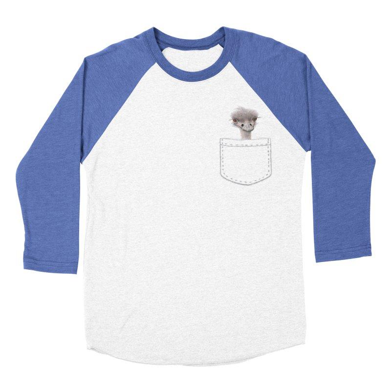 Ostrich in my Pocket Men's Baseball Triblend Longsleeve T-Shirt by FashionedbyNature's Artist Shop