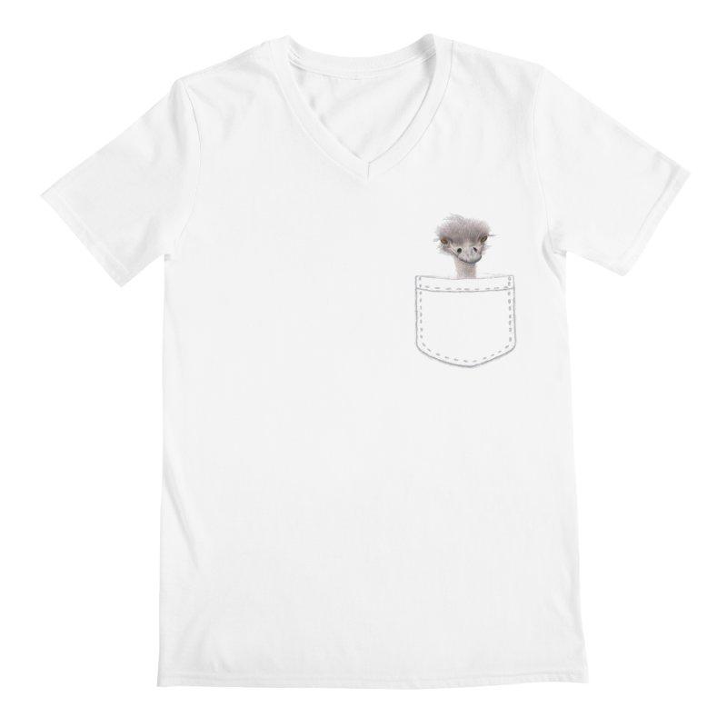 Ostrich in my Pocket Men's Regular V-Neck by FashionedbyNature's Artist Shop