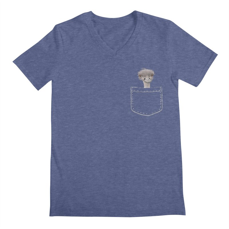 Ostrich in my Pocket Men's V-Neck by All Fashioned by Nature Artist Shop