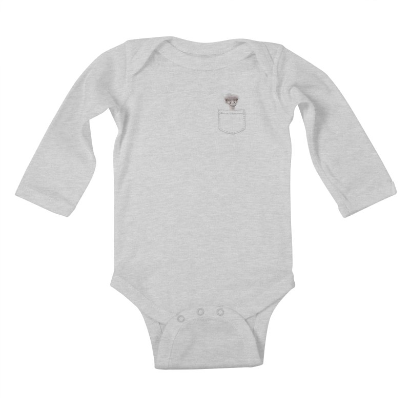 Ostrich in my Pocket Kids Baby Longsleeve Bodysuit by FashionedbyNature's Artist Shop